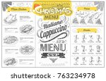 vintage holiday christmas menu... | Shutterstock .eps vector #763234978