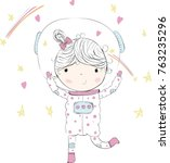 space.girl vector girl... | Shutterstock .eps vector #763235296