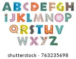decorative alphabet in... | Shutterstock .eps vector #763235698