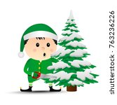 merry christmas. vector elf.... | Shutterstock .eps vector #763236226