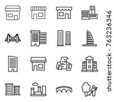 thin line icon set   shop ... | Shutterstock .eps vector #763236346