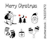 a set of christmas vector... | Shutterstock .eps vector #763237672