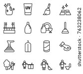 thin line icon set   cleanser ... | Shutterstock .eps vector #763238062