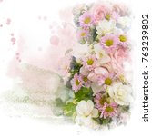 watercolor painting  retouch ... | Shutterstock . vector #763239802