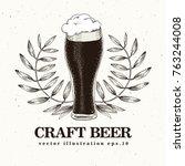craft beer bannner or logo... | Shutterstock .eps vector #763244008