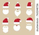 santa hats  moustache and... | Shutterstock .eps vector #763248736
