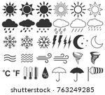 weather icons set  sun  clouds  ... | Shutterstock .eps vector #763249285