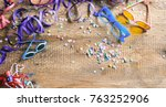 carnival party. glasses ... | Shutterstock . vector #763252906