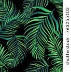 seamless tropical vector... | Shutterstock .eps vector #763255102