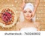 young and healthy woman getting ... | Shutterstock . vector #763260832
