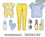 vector. lady fashion set of... | Shutterstock .eps vector #763261762