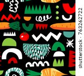 vegetarian seamless pattern... | Shutterstock .eps vector #763262722