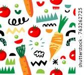vegetarian seamless pattern... | Shutterstock .eps vector #763262725