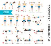 woman workout fitness  aerobic... | Shutterstock .eps vector #763263022