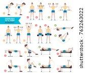 woman workout fitness  aerobic... | Shutterstock .eps vector #763263022