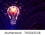 abstract polygonal lamp on... | Shutterstock . vector #763263118