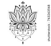 mehndi lotus flower pattern for ... | Shutterstock .eps vector #763263568