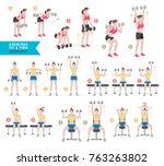 woman workout fitness  aerobic... | Shutterstock .eps vector #763263802