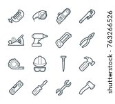 a set of simple outline tools... | Shutterstock .eps vector #763266526