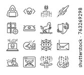 hacker icon set. included the... | Shutterstock .eps vector #763269298