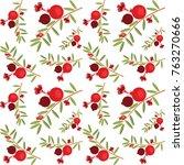 pomegranate tree pattern | Shutterstock .eps vector #763270666