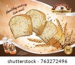multi grain toast ads  healthy... | Shutterstock .eps vector #763272496