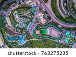 aerial view of amusement park... | Shutterstock . vector #763275235