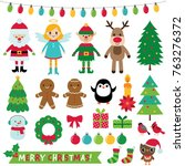 christmas decoration and... | Shutterstock .eps vector #763276372