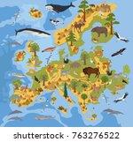 flat european flora and fauna... | Shutterstock .eps vector #763276522