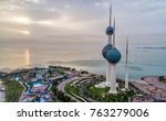Kuwait Towers In Sunrise Sky...