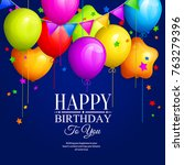 bunch of colorful birthday... | Shutterstock .eps vector #763279396