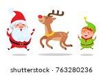 santa and elf cartoon... | Shutterstock .eps vector #763280236