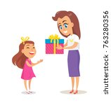 mom greets daughter with winter ... | Shutterstock .eps vector #763280356