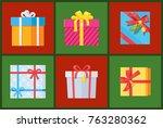 gift packs set  presents...   Shutterstock .eps vector #763280362