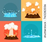concept of blue geyser and red... | Shutterstock .eps vector #763282036
