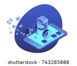 apps security system. robot... | Shutterstock .eps vector #763285888