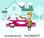 young caucasian white man... | Shutterstock .eps vector #763286875