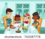 happy multiethnic family of... | Shutterstock .eps vector #763287778