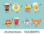 cartoon funny friends fast food ... | Shutterstock .eps vector #763288492