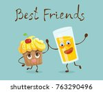 cartoon funny cupcake and glass ... | Shutterstock .eps vector #763290496