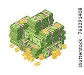 huge pile of dollar cash money...   Shutterstock .eps vector #763291408