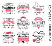 valentines day typography ... | Shutterstock .eps vector #763291426