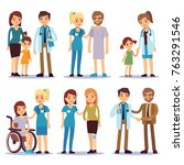 medical staff with patients.... | Shutterstock .eps vector #763291546
