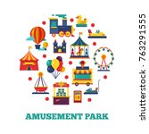 amusement park icons round... | Shutterstock .eps vector #763291555