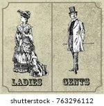 victorian lady and gentleman.... | Shutterstock .eps vector #763296112