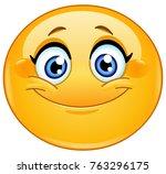 Stock vector female emoticon smiling 763296175