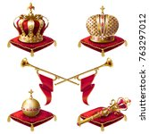 royal golden crowns with jewels ... | Shutterstock .eps vector #763297012