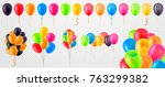 collection of 3d realistic... | Shutterstock .eps vector #763299382