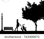 pregnant woman walking with... | Shutterstock .eps vector #763300072