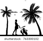 pregnant woman walking with her ...   Shutterstock .eps vector #763300102